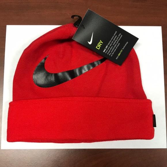 f2c468c9fb3 NWT Nike Drifit Beanie Red   Black Swoosh